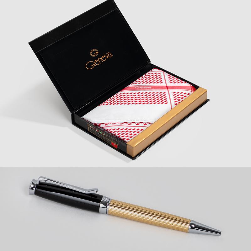 شماغ جنيفا أحمر برميم مع قلم نيتو ماراني ذهبي اسود بقطع فضية