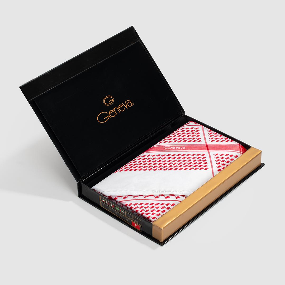 شماغ جنيفا أحمر برميم مع قلم نيتو ماراني أبيض مزين بالروز الذهبي سادة