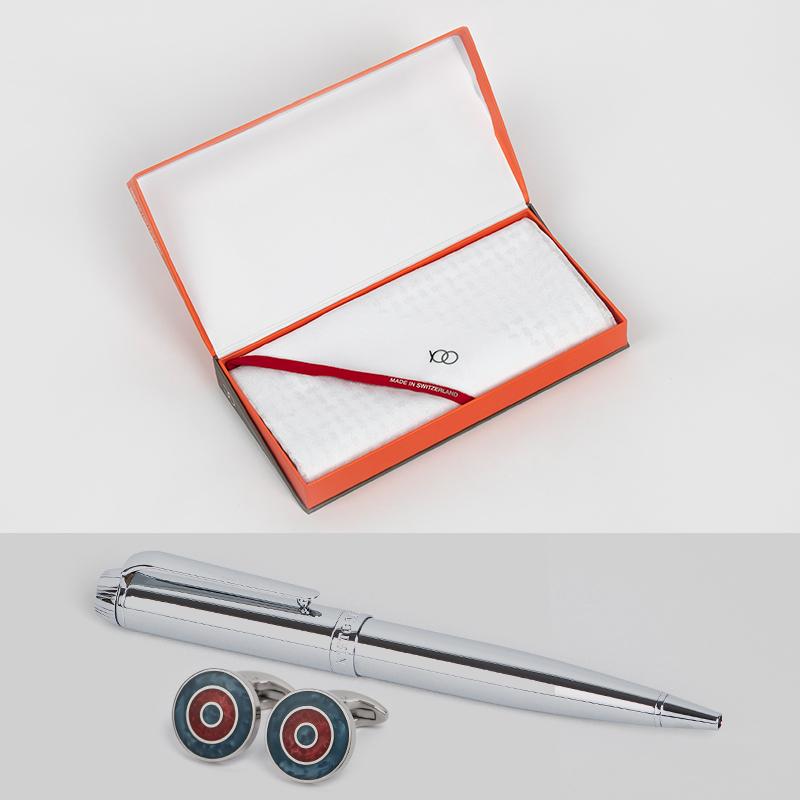 شماغ يوو بريفا أبيض بأطراف لون أحمر مع قلم وكبك نيتومراني