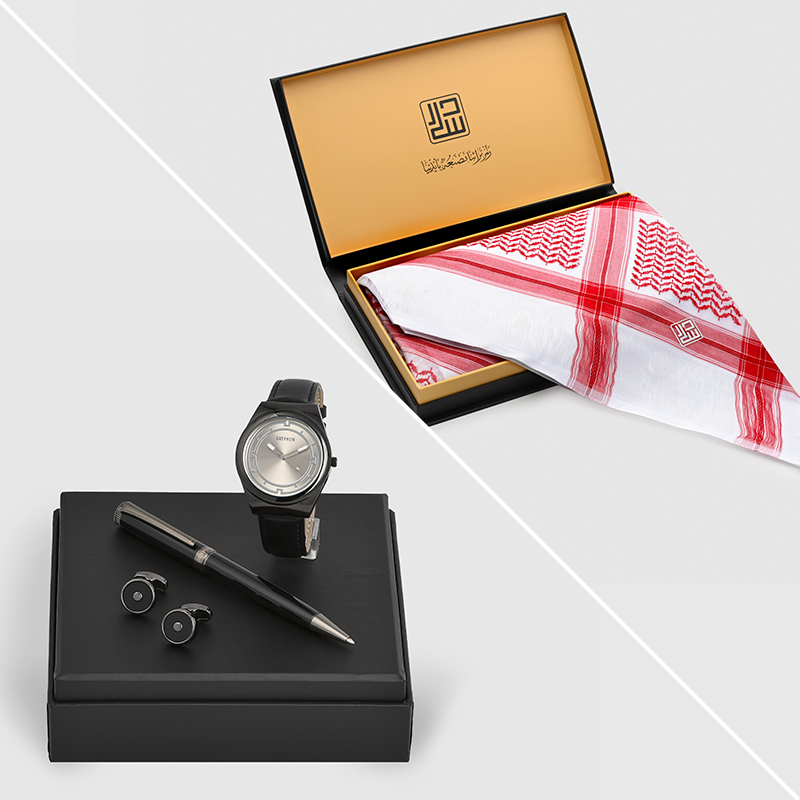 شماغ دسار شلش موديل 2020 مع  طقم جريفون ساعة وقلم وكبك