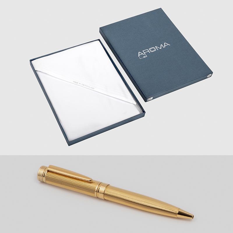 غترة أروما بيضاء مميزة مع قلم نيتو ماراني ذهبي لامع