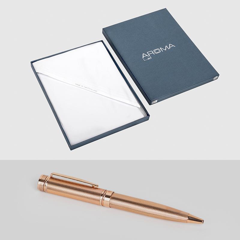غترة أروما بيضاء مميزة مع قلم نيتو ماراني بتموجات ذهبي روز