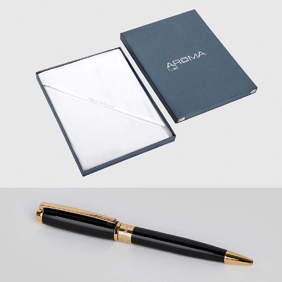 غترة أروما مع قلم نيتو ماراني ذهبي مع الأسود