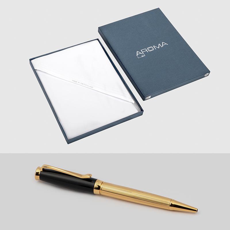 غترة أروما بيضاء مميزة مع قلم نيتو ماراني أسود ذهبي سادة انيق