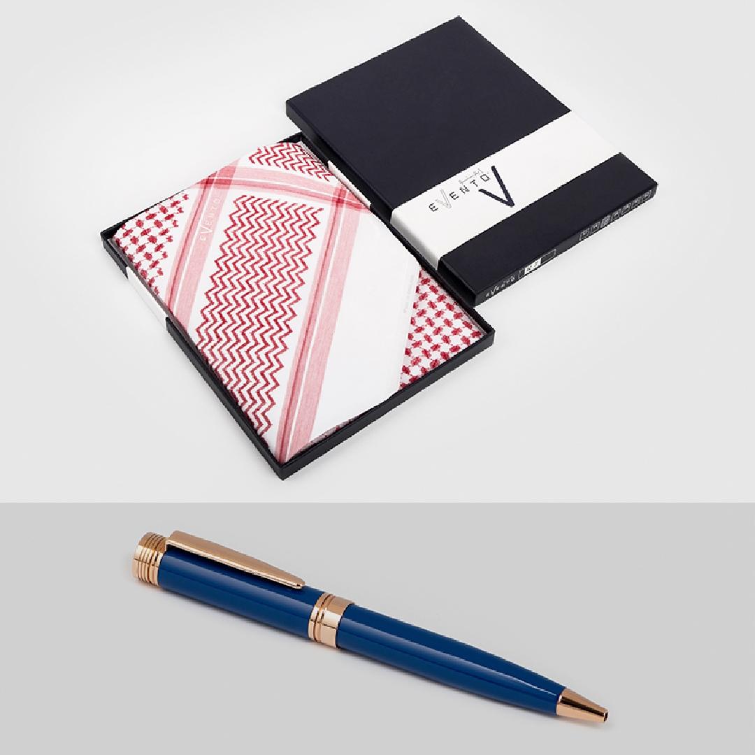 شماغ إيفنتو أحمرمميز قلم نيتو مارانى أزرق ذهبي روز