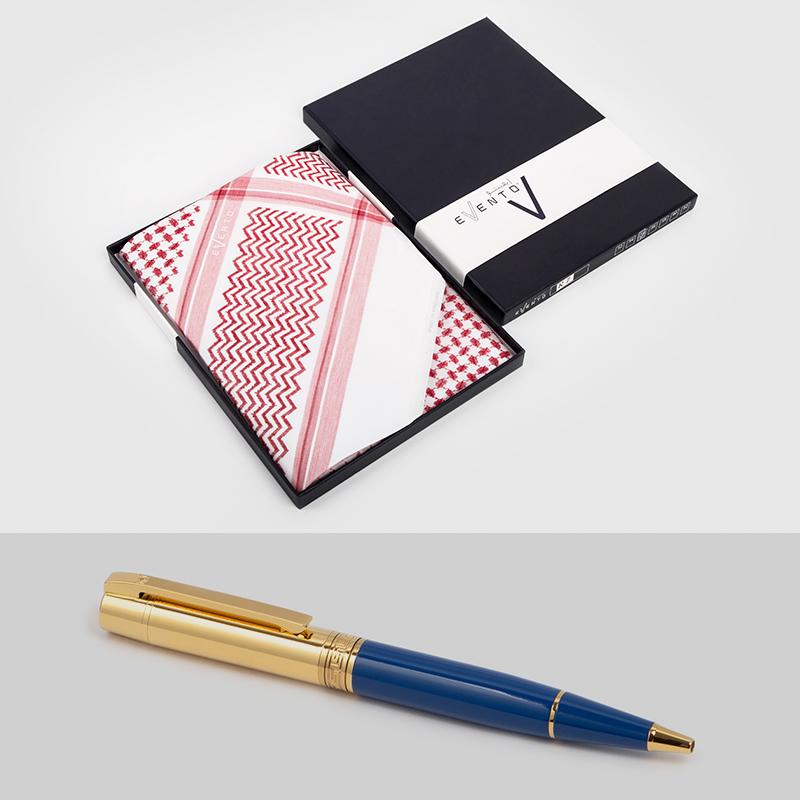 شماغ إيفنتو أحمرمميز قلم  نيتو ماراني أزرق ذهبي سادة