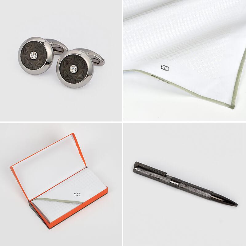 شماغ يوو أبيض مع طقم قلم وكبك