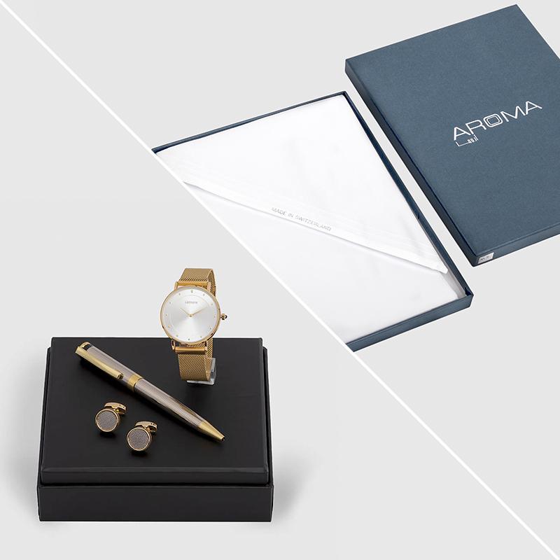 غترة  اروما مع طقم قلم وكبك وساعة