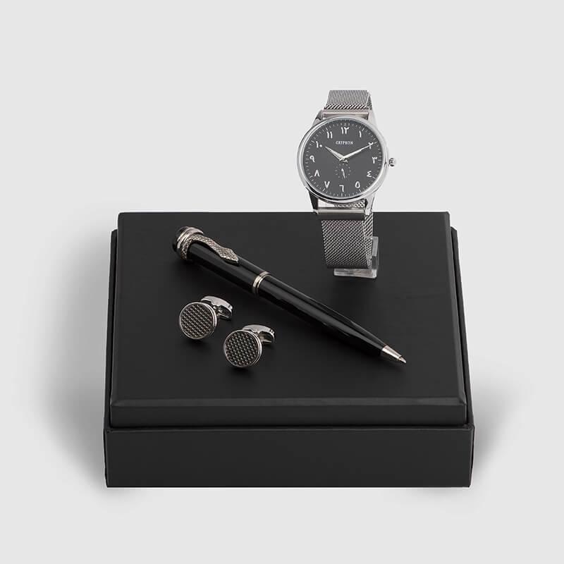 شماغ  ايفينتو مع طقم قلم وكبك وساعة