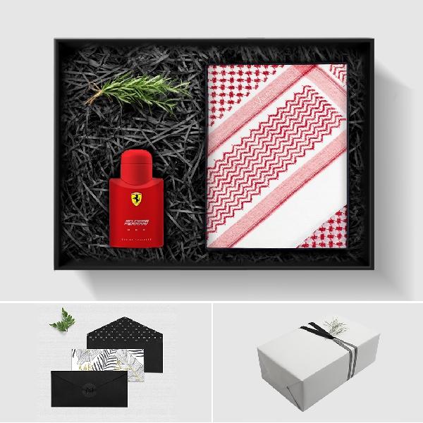 بوكس شماغ إيفنتو أحمر مميز، عطر فيراري سكوديريا ريد - أو دو تواليت (رجالي) 125 مل