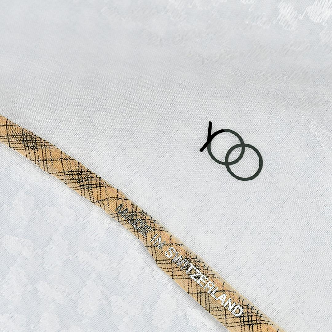 بوكس شماغ يوو أبيض بني فاتح وخطوط سوداء (مكس تون)