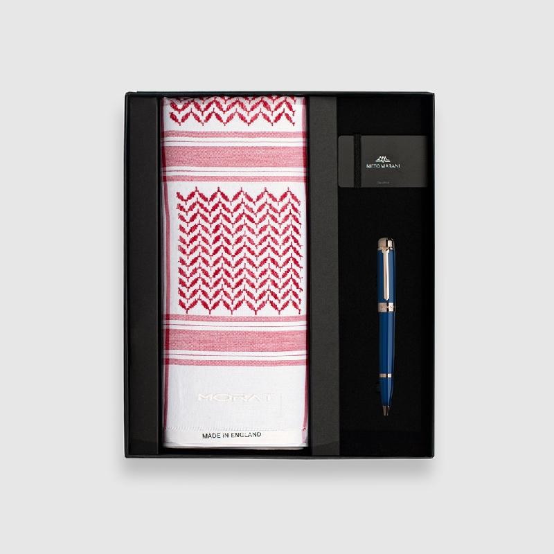 طقم شماغ مورات أحمر مع قلم ازرق روز ذهبي
