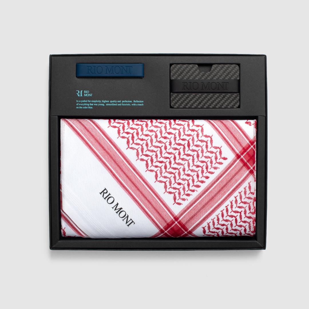 شماغ ريو مون كلاسك احمر مع محفظة كاربون فايبر بحزام أسود/ أزرق