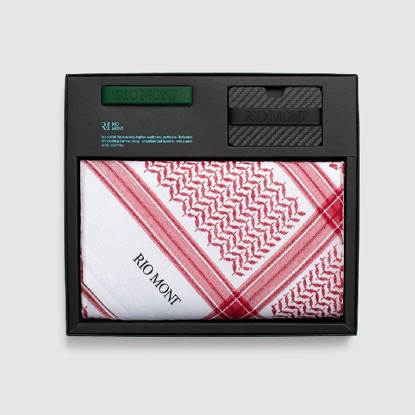 شماغ ريو مون كلاسك احمر مع محفظة كاربون فايبر بحزام أسود/ أخضر