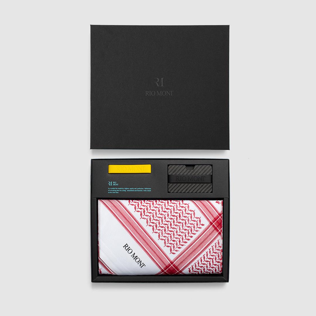 شماغ ريو مون كلاسك احمر مع محفظة كاربون فايبر بحزام أسود/ أصفر