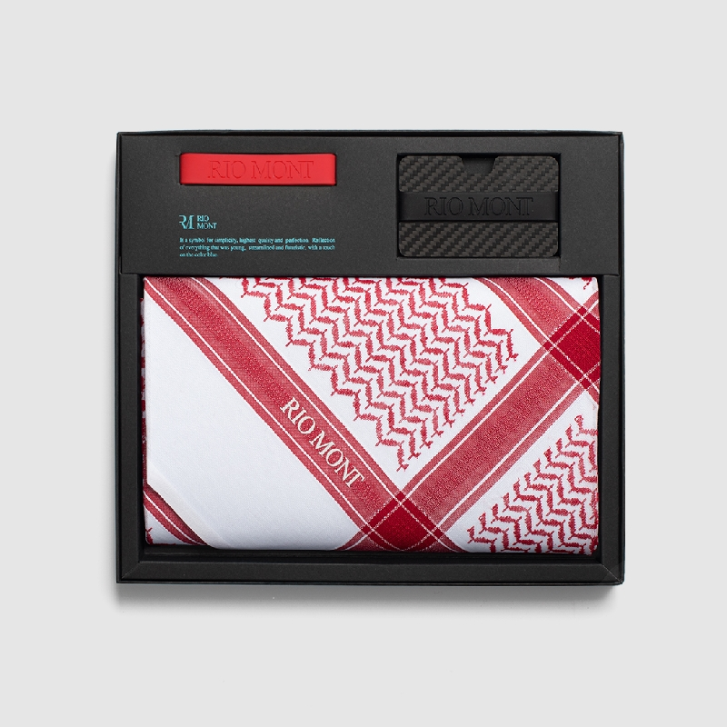 شماغ ريو مون شبابي احمر مع محفظة كاربون فايبر بحزام أسود/أحمر
