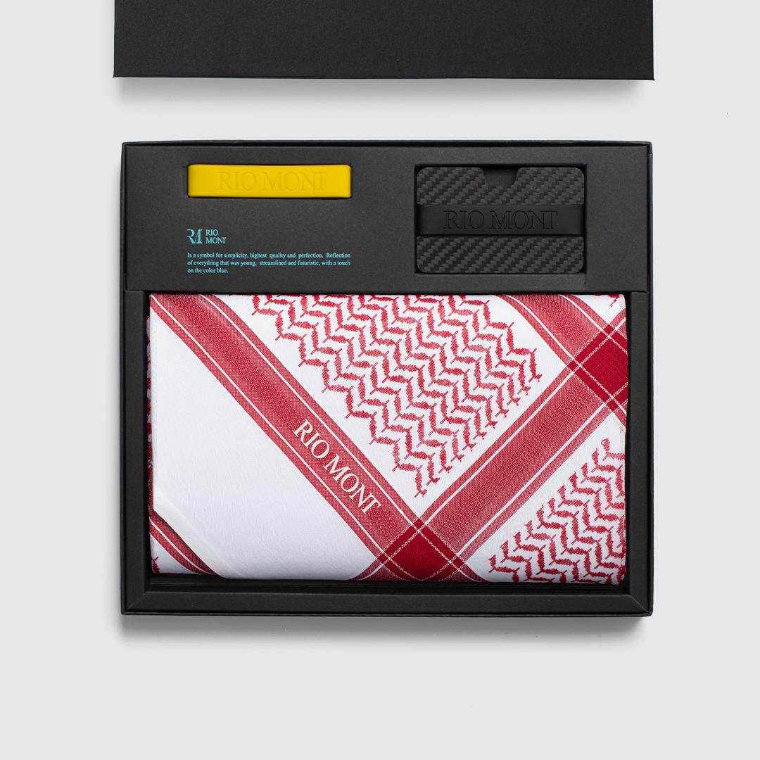 شماغ ريو مون شبابي أحمر مع محفظة كاربون فايبر بحزام أسود/ أصفر