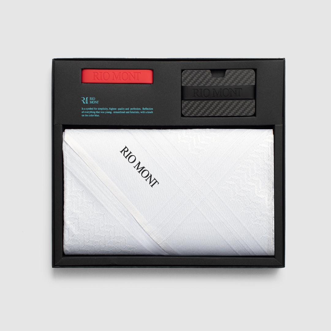 شماغ ريو مون كلاسك أبيض مع محفظة كاربون فايبر بحزام أسود/ أحمر
