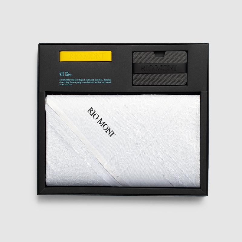 شماغ ريو مون كلاسك أبيض مع محفظة كاربون فايبر بحزام أسود/ أصفر