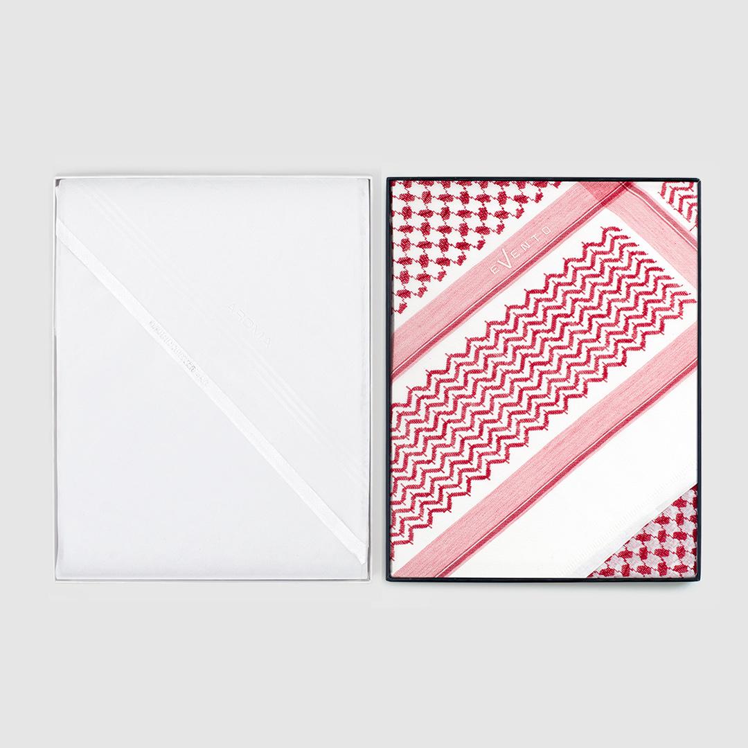 شماغ إيفنتو أحمر مميز مع غترة أروما بيضاء مميزة