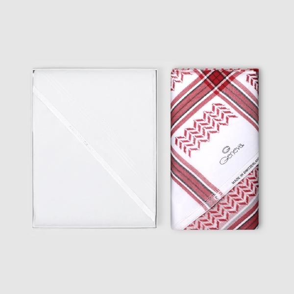 شماغ جنيفا  ليمتيد أحمر مع غترة أروما بيضاء فاخرة