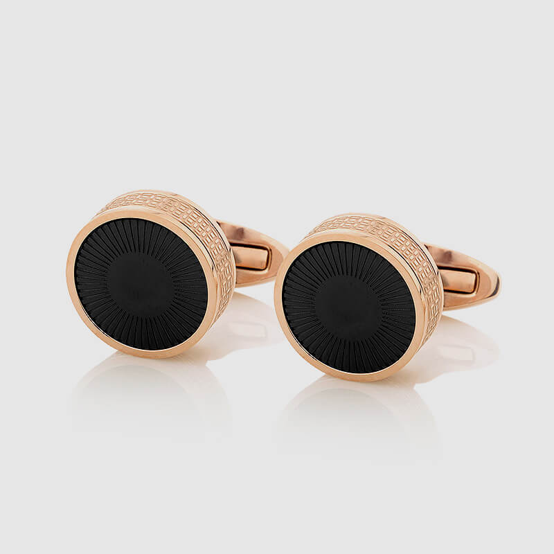 Rose Gold Cufflinks with Black decoration - NIETO MARANI