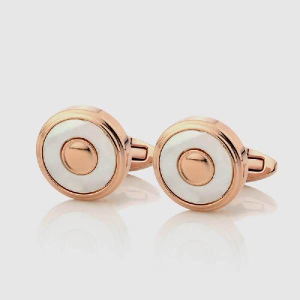 CUFFLINKS WHITE WITH ROSE GOLD  - NIETO MARANI