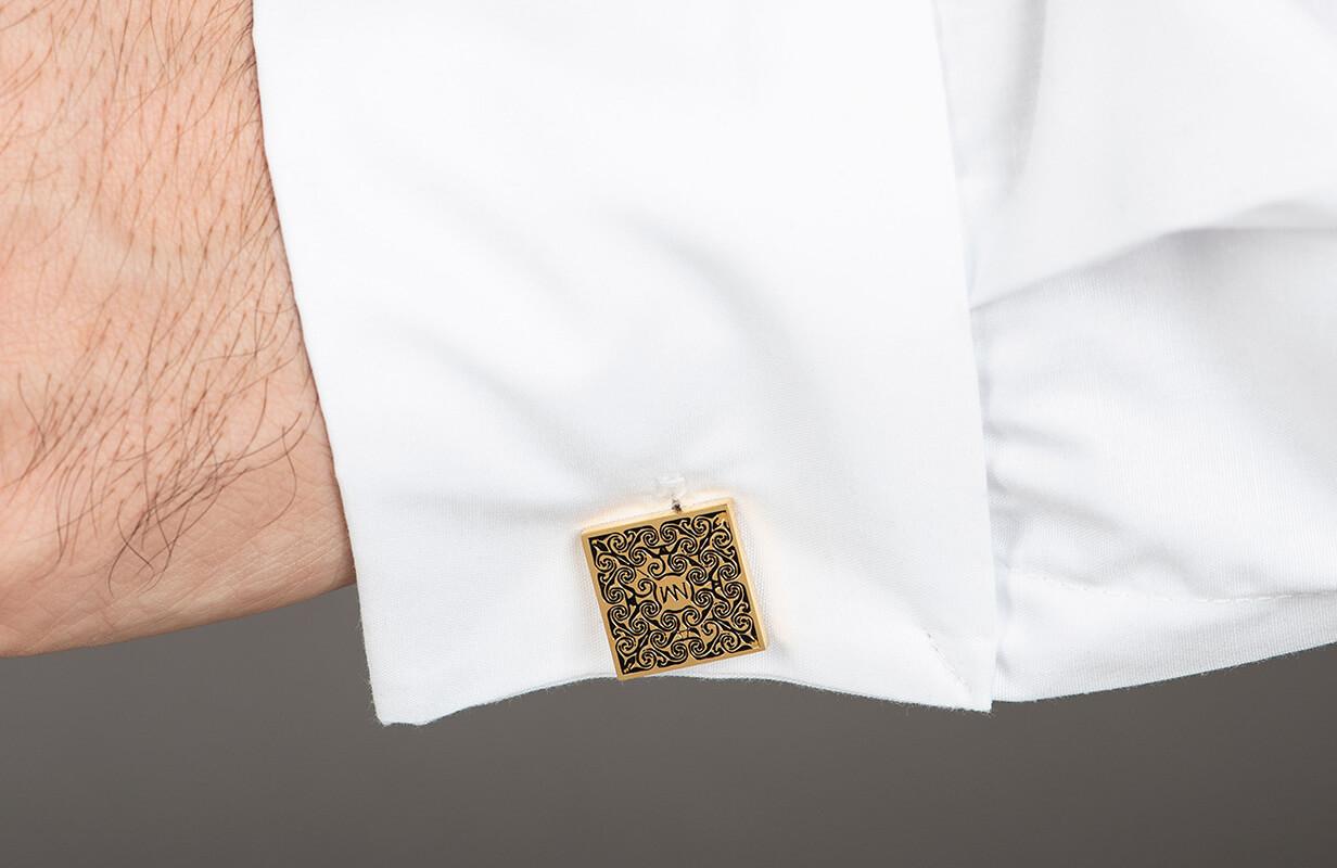 Gold Cufflinks decorated with Black - NIETO MARANI