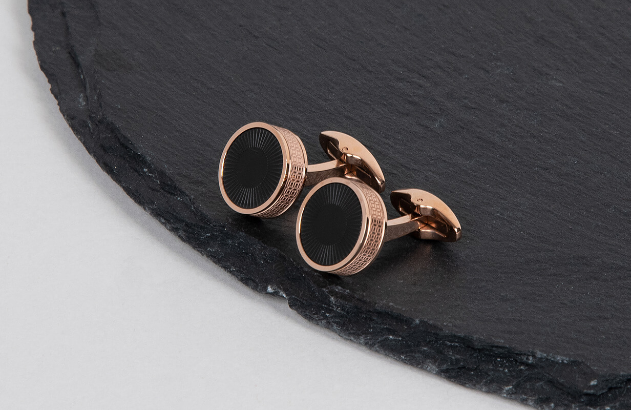 Rose Gold Cufflinks with Black decoration - NIETO MARANI