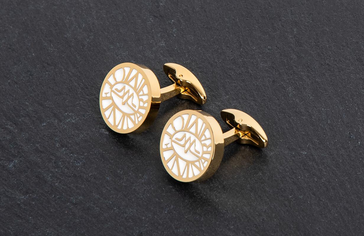 Gold Cufflinks engraved with White - NIETO MARANI