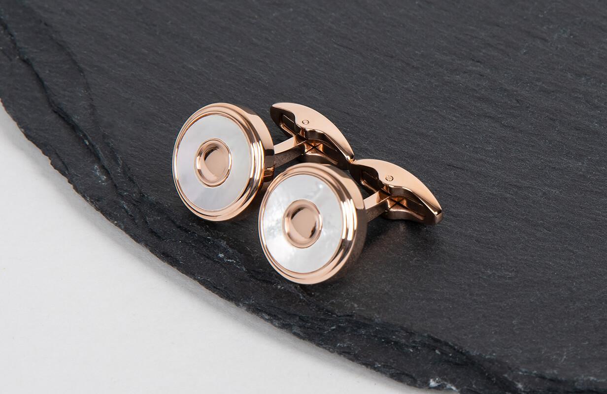 Rose Gold Cufflinks inlaid with Round Shells - NIETO MARANI