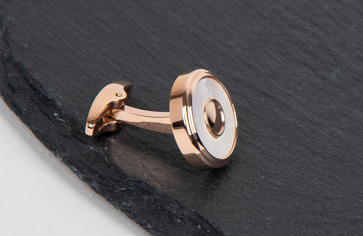 Rose Gold Cufflinks inlaid with Round Shells - NIETO MARANI