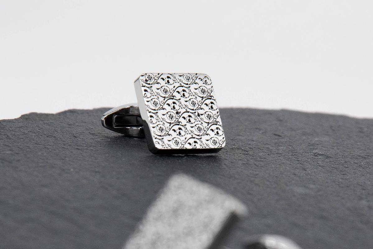 Rectangular Silver Cufflinks with Black decoration - NIETO MARANI