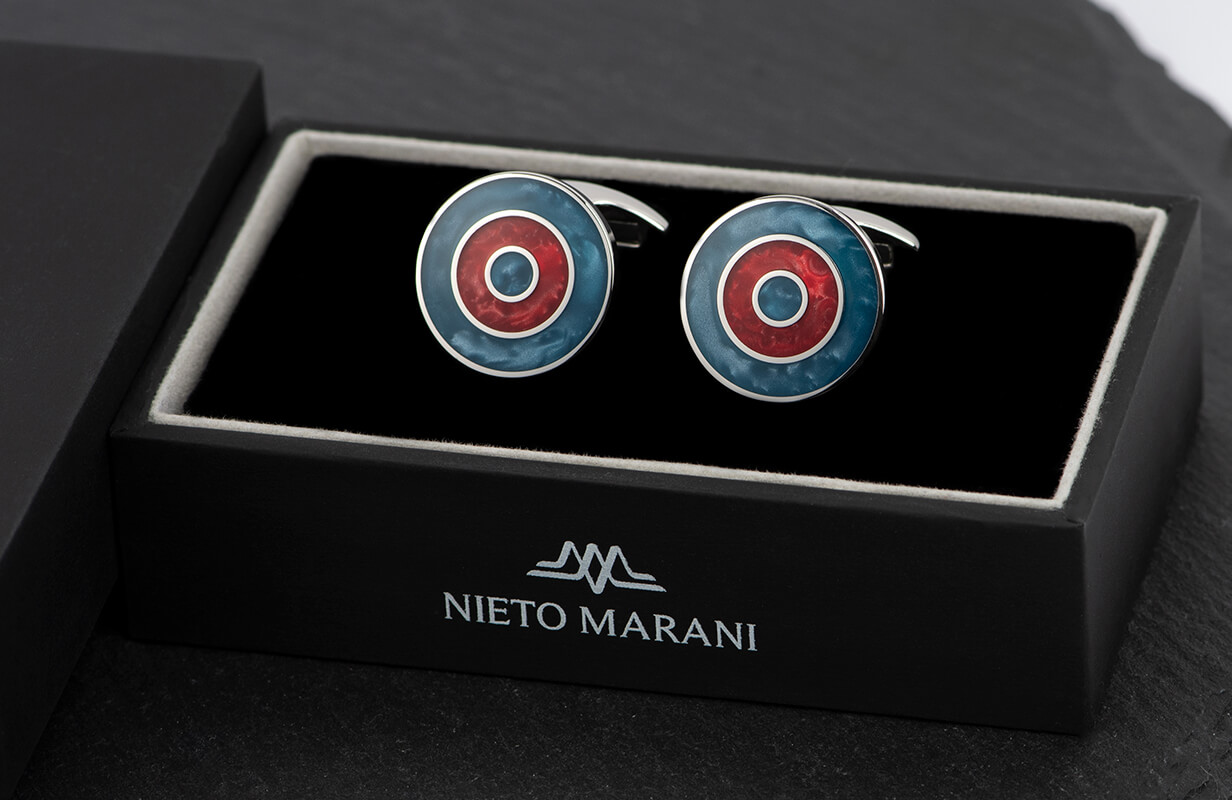 كبك  نيتو ماراني فضي دائرى بصدف أزرق وأحمر
