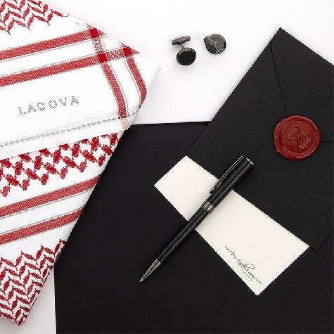 Red LACOVA Shemagh & Navy cufflink Pen Set